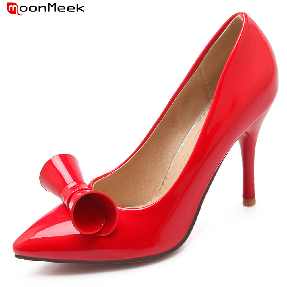 MoonMeek new hot spring autumn sexy ladies shose high heels pointed toe thin heel with butterfly knot slip on women pumps