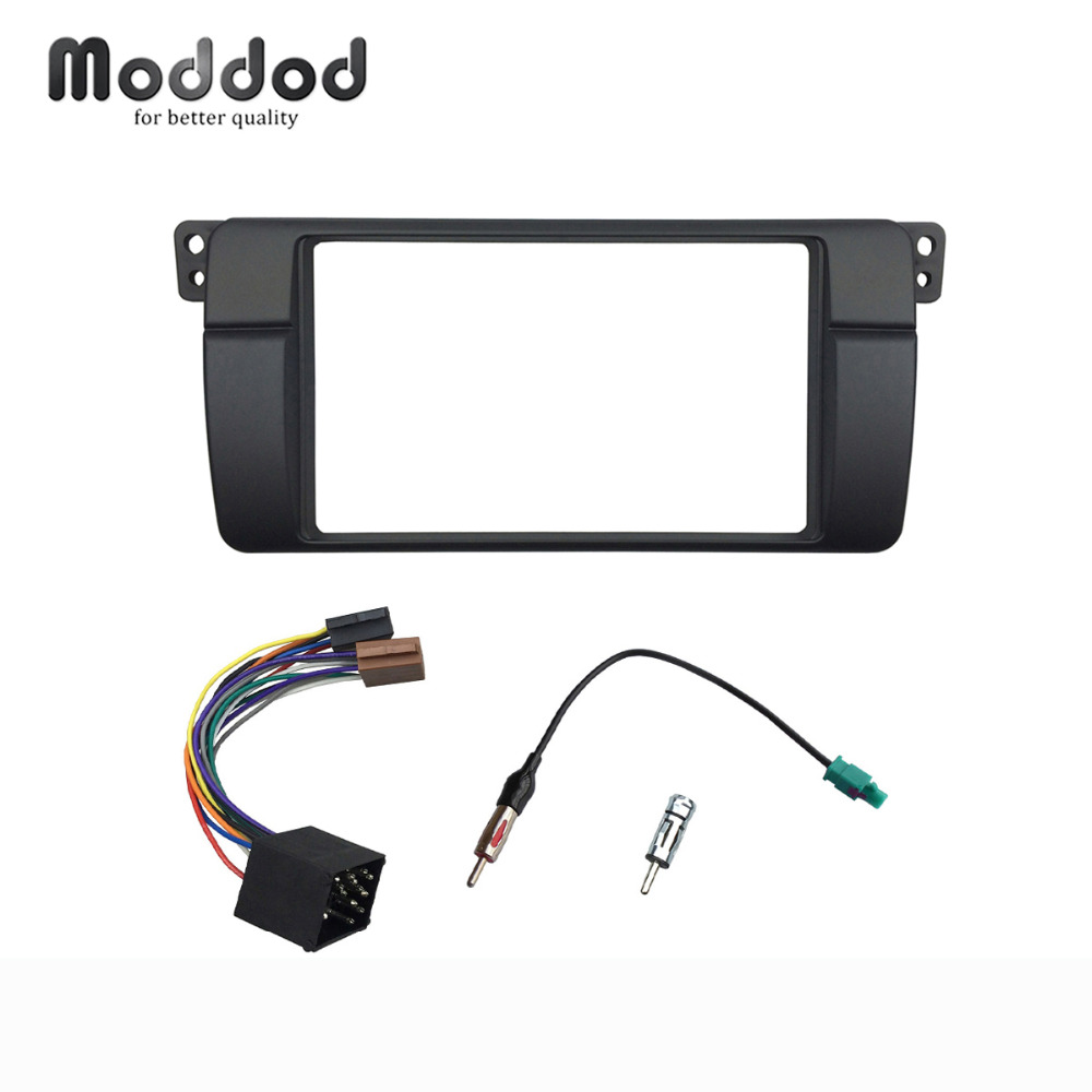 Double Din For BMW 3 Series E46 1998-2005 Radio DVD Fascia Stereo Panel Dash Mount Trim Kit Frame With ISO Wiring Double Din For BMW 3 Series E46 1998-2005 Radio DVD Fascia Stereo Panel Dash Mount Trim Kit Frame With ISO Wiring