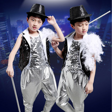 DJGRSTER New Kids Children Sequin Stage Jazz Dance Costumes Hip Hop Costume Suit Girls Boys Modern