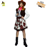 Women's Western Cowgirl Dress Outfit Costumes Role Play Carnival Party Fancy Dress Cowgirl Dress