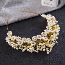 New Trendy Bridal Pearl Gold Soft Tiara Crown Rhinestone Wedding Accessory Flower Hair Jewelry Crystal Headband Female Wholesale