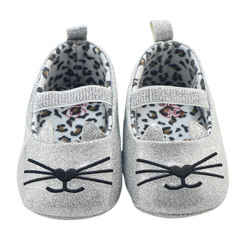 Newborn Breathable Cartoon Cat Infant Girl Shoes Soft Sole An-Slip Shallow Baby Kids First Walker 0-18M