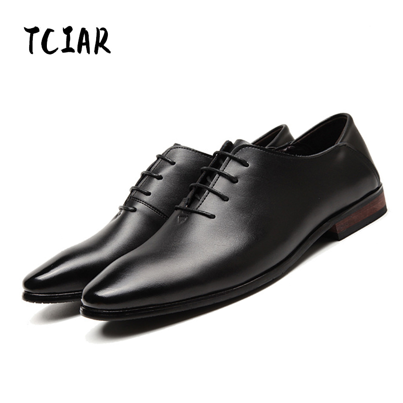 TCIAR Brand Spring New Arrival Solid Lace-up Men's Genuine Leather Shoes Business Leather Shoes Wedding Casual Shoes Men DA001