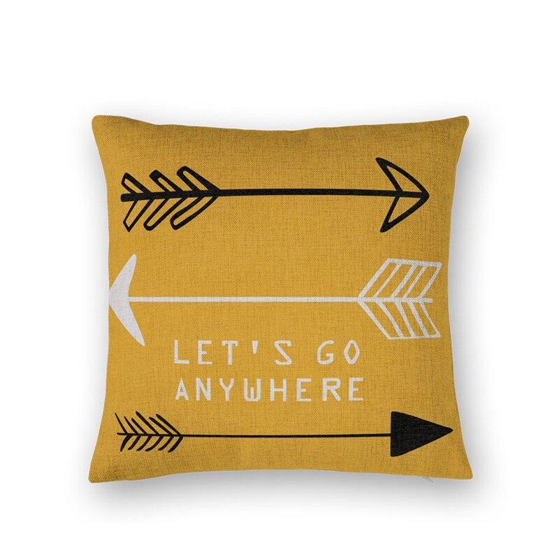 LETS GO ANYWHERE Cotton Linen Pillow Cover Decorative Throw Pillows Home Decor Almofadas Sofa Text Arrow Cushion Cover CONJIES