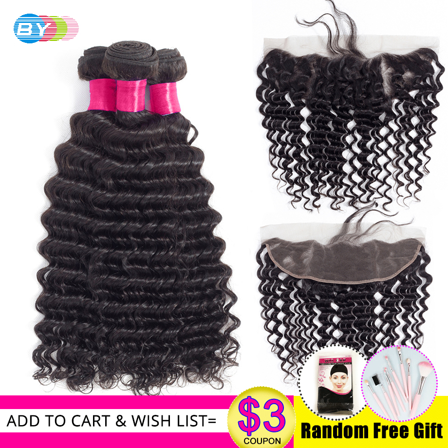 BY Deep Wave Bundles With Lace Frontal Closure Ear To Ear 13 4 HD Lace Frontal