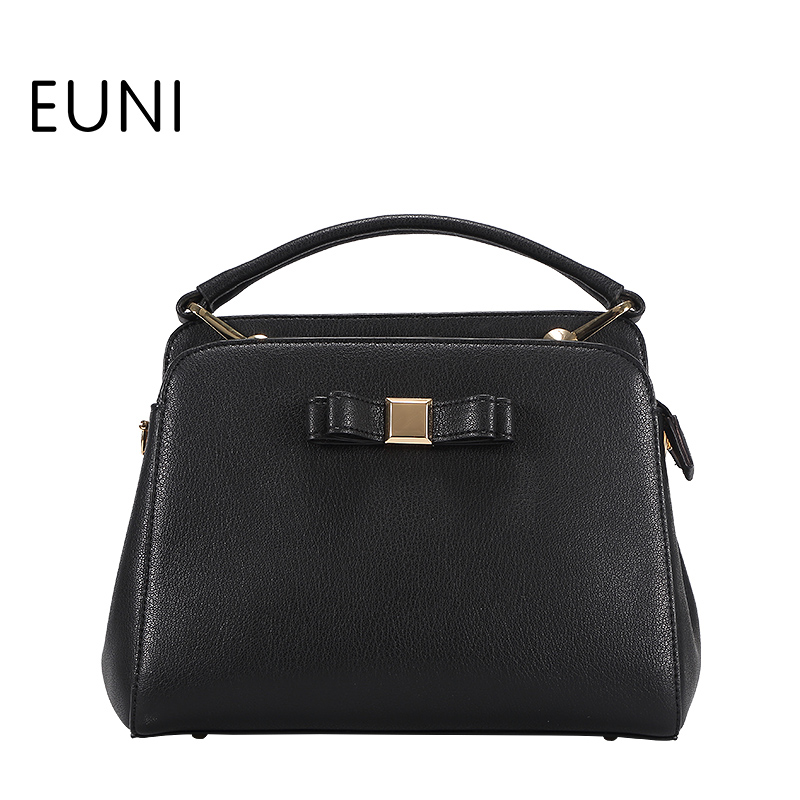 EUNI Cowhide Leather Women Shoulder Bag Exclusive Design High Quality Fashion Bow Ladies Leather Handbags Bag Tote Bag S48 high street guitar fashion rock musical instruments the design tide satchel shoulder handbags summer bag ladies