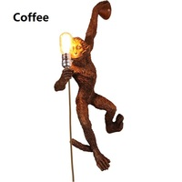 Lampara de pared Kitsch quirky Simple Art Nordic White Replicas Resin Hanging Monkey Wall Lamp for Bedroom Led Wall Light