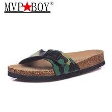 MVP BOY Summer Style Shoes Men Orthotic Sandals Cork Beach Slippers Slip-on Casual Classics Flip Flop Size 35-45 Slides Black недорого