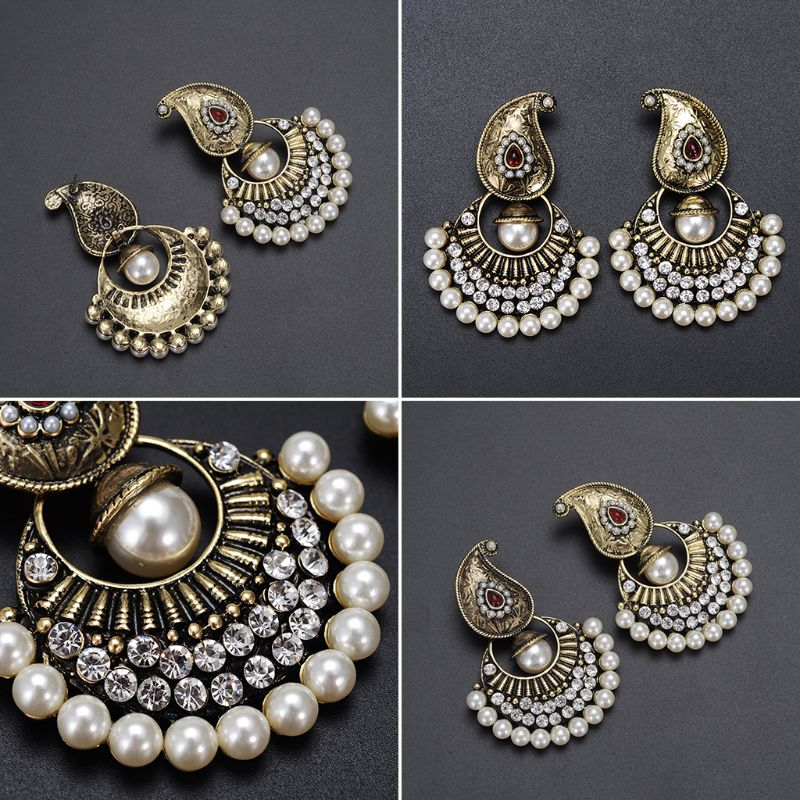 Bohemia Earrings Mini Pearl Tassel Rhinestone Brincos Charms Bohemian Boho Style Ethnic Vintage Antique Fashion Jewelry Gifts in Drop Earrings from Jewelry Accessories