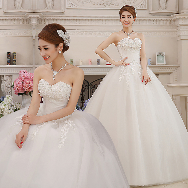 2017 new stock plus size women pregnant bridal gown wedding dress strapless ball gown bling lace satin long sexy white 3110