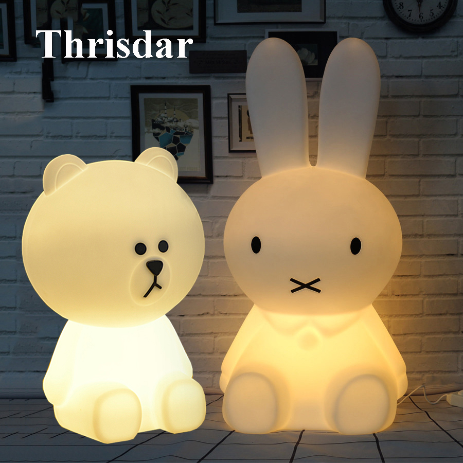 BEIAIDI Cute Bear Rabbit LED Night Light Dimmable Cartoon Bedside Table Lamps Birthday Christmas Gift for Baby Kids Children beiaidi 50cm cute rabbit led night light cartoon animal bedroom desk table lamp baby kids children sleeping light best christmas