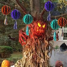 лучшая цена Halloween Ghost Hanging Ornament Ghost Honeycomb Paper Lanterns Pendant Haunted House Decorations Ghost Festival Scene Props