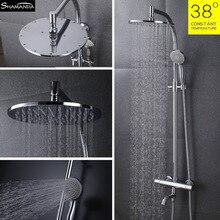 Новый стиль бесплатная доставка латунь хром настенные термостат клапан ванной роскошные дождь душа установить