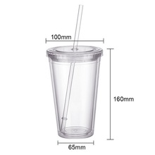 Reusable Plastic Smoothie Tumbler with Straw