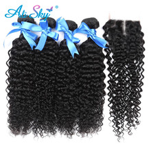 Ali Sky brazil afro Kinky göndör hajvessző 4 csomagok bezárása emberi hajcsomagok csipke lezárása 5db / tétel Ajánlatok Weft NonRemy