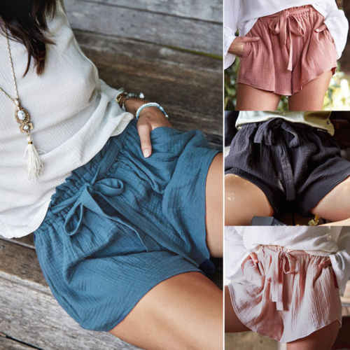 Women Female Casual Shorts Ladies High Waist Short Pants With Belt Solid