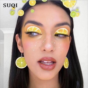 SUQI, pendientes a la moda con forma de limón exagerada con dulce personalidad, pendientes bohemios de oro circular, gran colgante, joyería para mujeres 2019