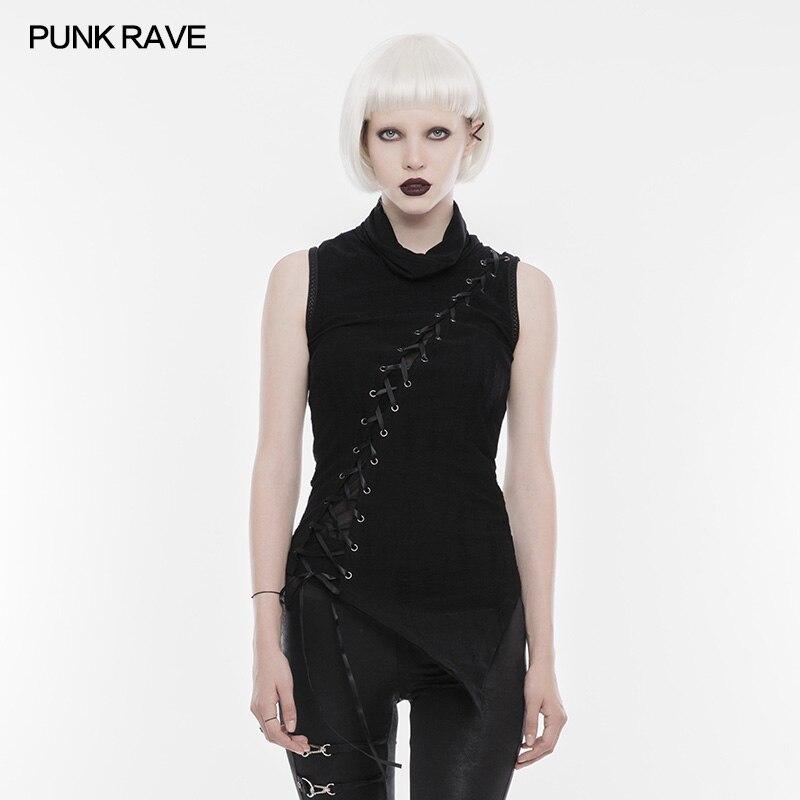 PUNK RAVE femmes Rock noir T-shirt Steampunk sans manches femmes Sexy T-shirt décontracté personnalité femme Punk T-Shirt