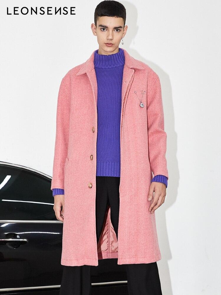 LEONSENSE Новое тонкое шерстяное пальто женская верхняя одежда с длинными рукавами и отложным воротником Повседневная осенне зимняя элегантна