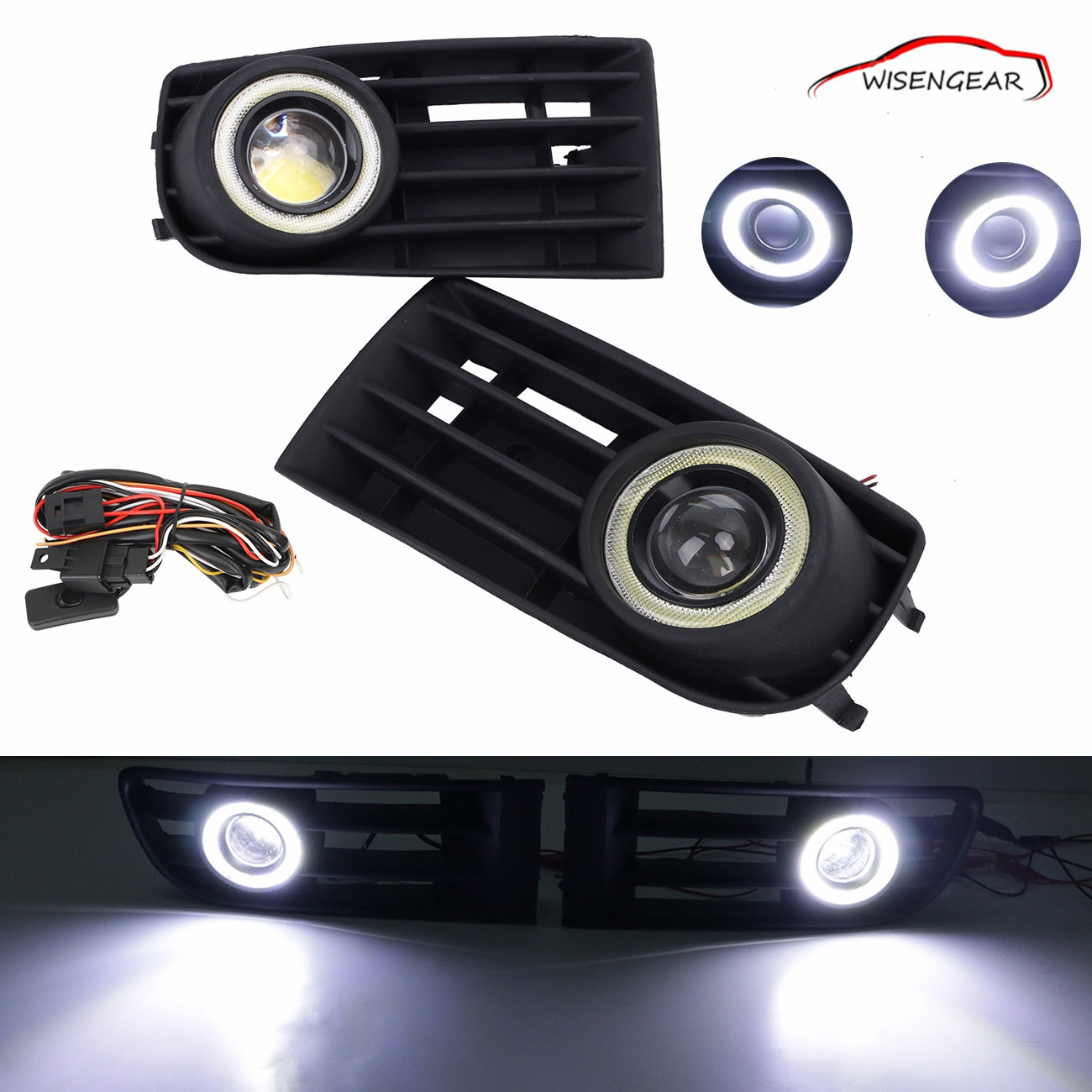 For VW Golf Mk5 Rabbit 2003-2009 Fog Lights Lamp DRL LED Daytime Running lights Bumper Grille projector lens fog lights C/5 auto led car bumper grille drl daytime running light driving fog lamp source bulb for vw volkswagen golf mk4 1997 2006 2pcs