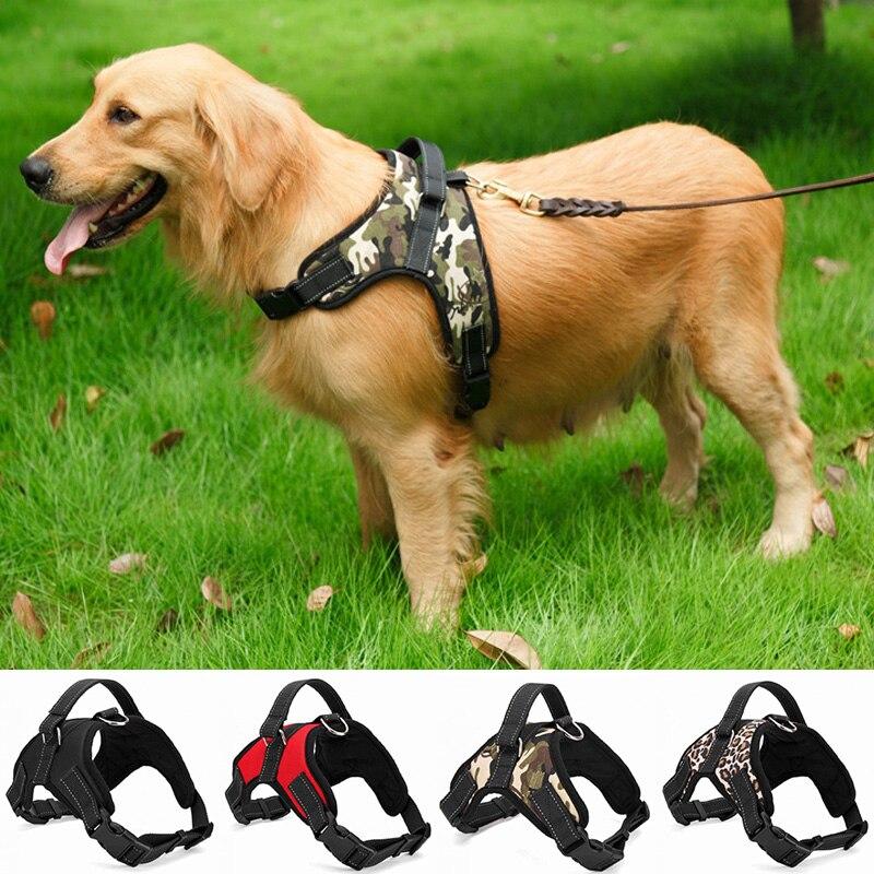 Nylon Heavy Duty Harness Dog Pet Collar Ajustável Acolchoada Extra Grande Grande Médio Pequeno Cão Arnês colete Rouca Cães Suprimentos