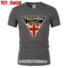 2019 Craked Union Jack Triumph Motorcycle TShirt UK Flag Clothing Men T