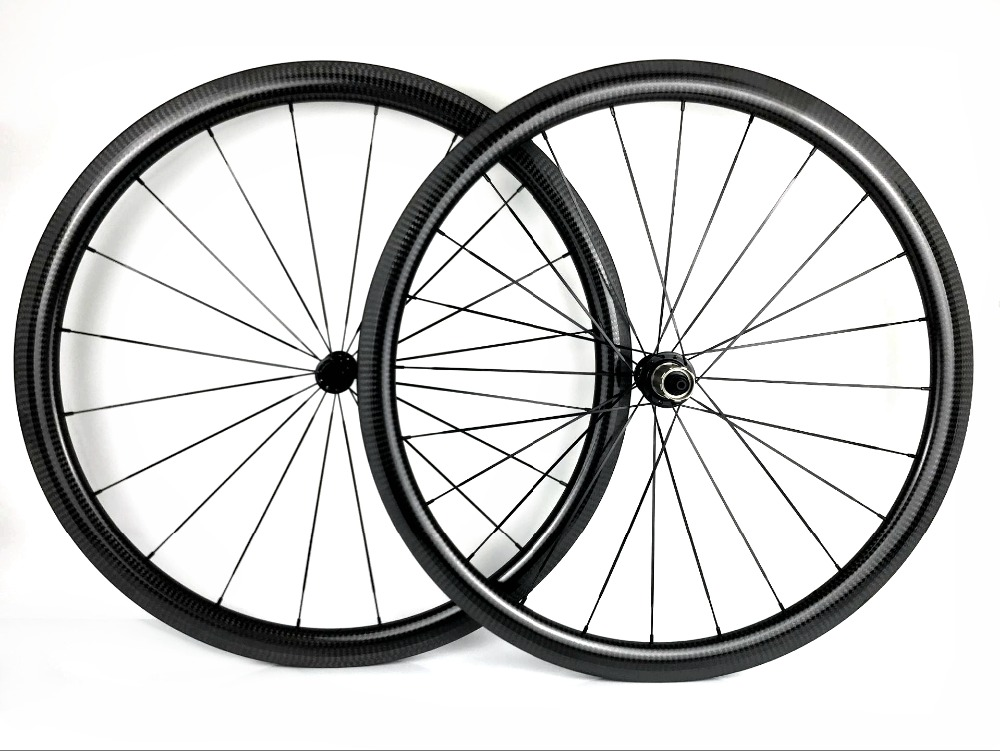700C 38mm Clincher Carbon Wheels 3K Matte Glossy Bike Road Bicycle Light  Wheels