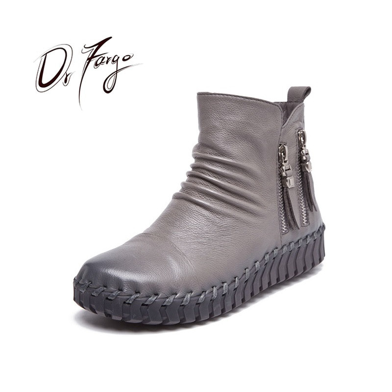 DRFARGO Genuine Leather Shoes Women Platform Ankle Boots Winter Snow Boots side zipper cow leather Grey Black size 35-41 A67DRFARGO Genuine Leather Shoes Women Platform Ankle Boots Winter Snow Boots side zipper cow leather Grey Black size 35-41 A67