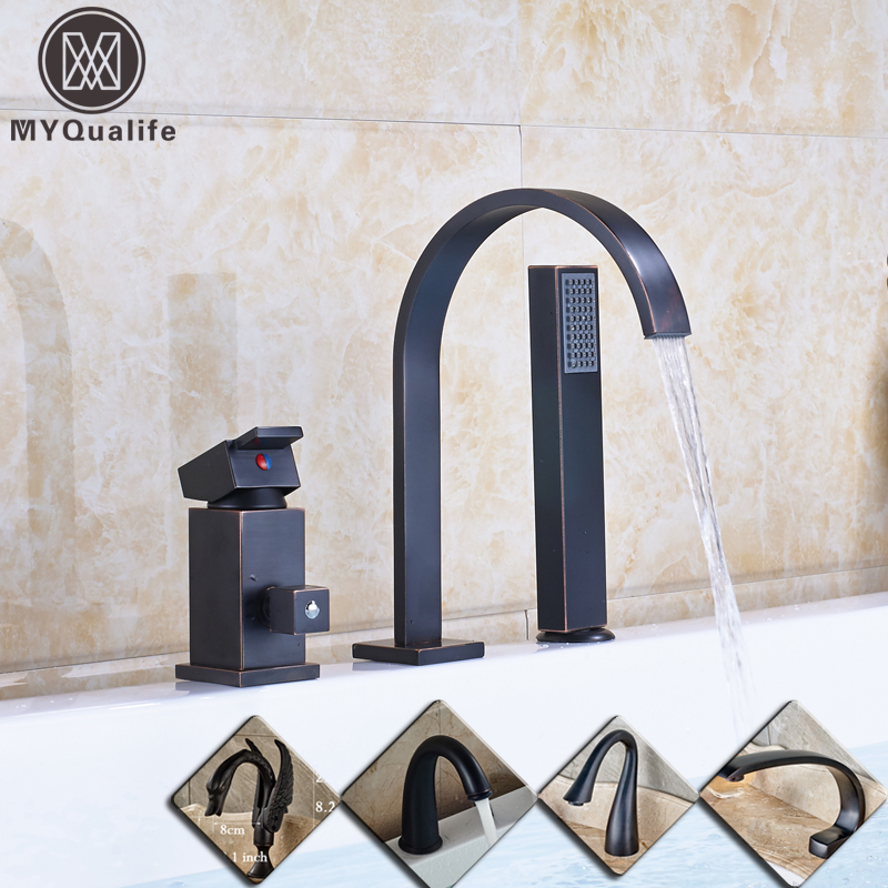 Deck Mounted 3pc Waterfall Bathroom Tub Mixer Faucet Single Lever with Hand Shower Bathtub Hot and Cold Taps