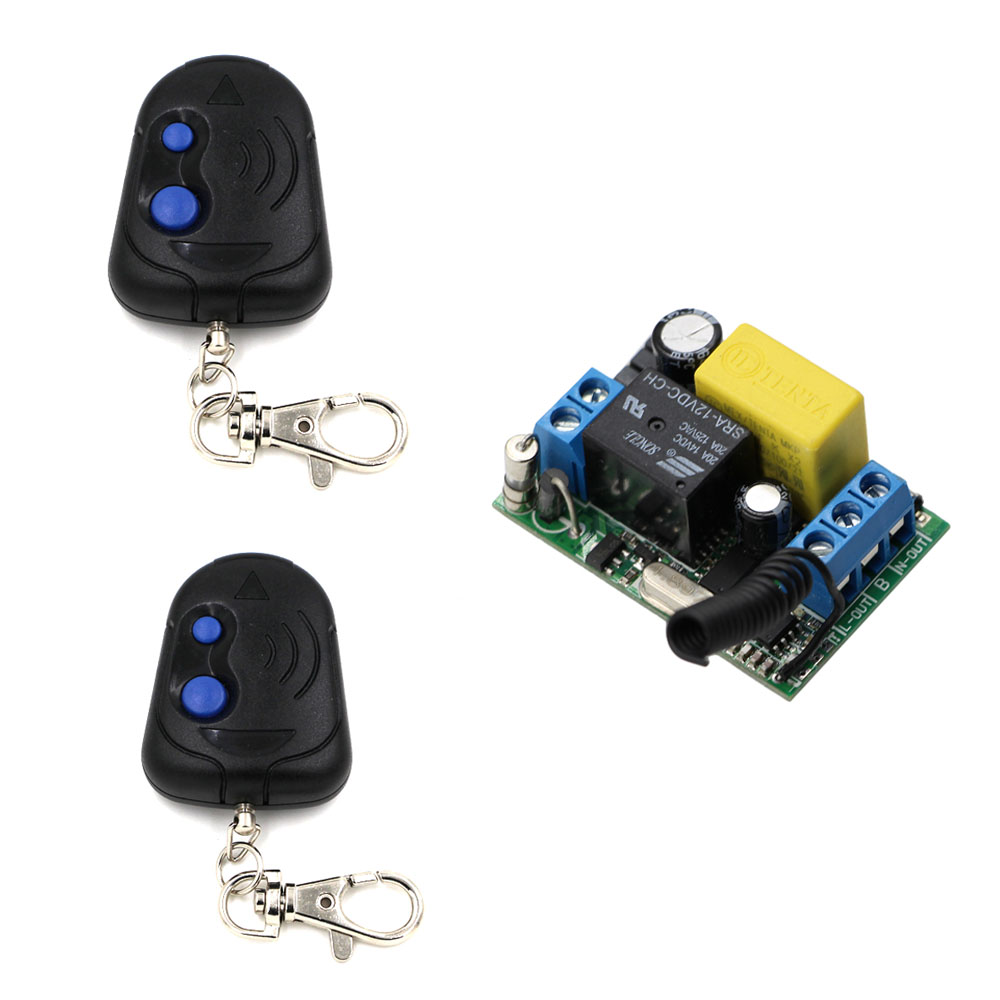 AC 220V 1CH Relay Receiver Universal Wireless Remote Control Switch With 2 Remote Transmitter For Home LED Bulb Light Lamp