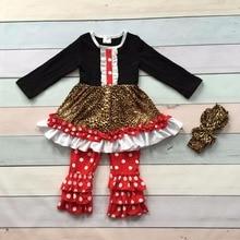 Noël automne/hiver bébé filles enfants portent reffles tenues coton à manches longues Imprimé Léopard rouge dot pantalon avec correspondant arc