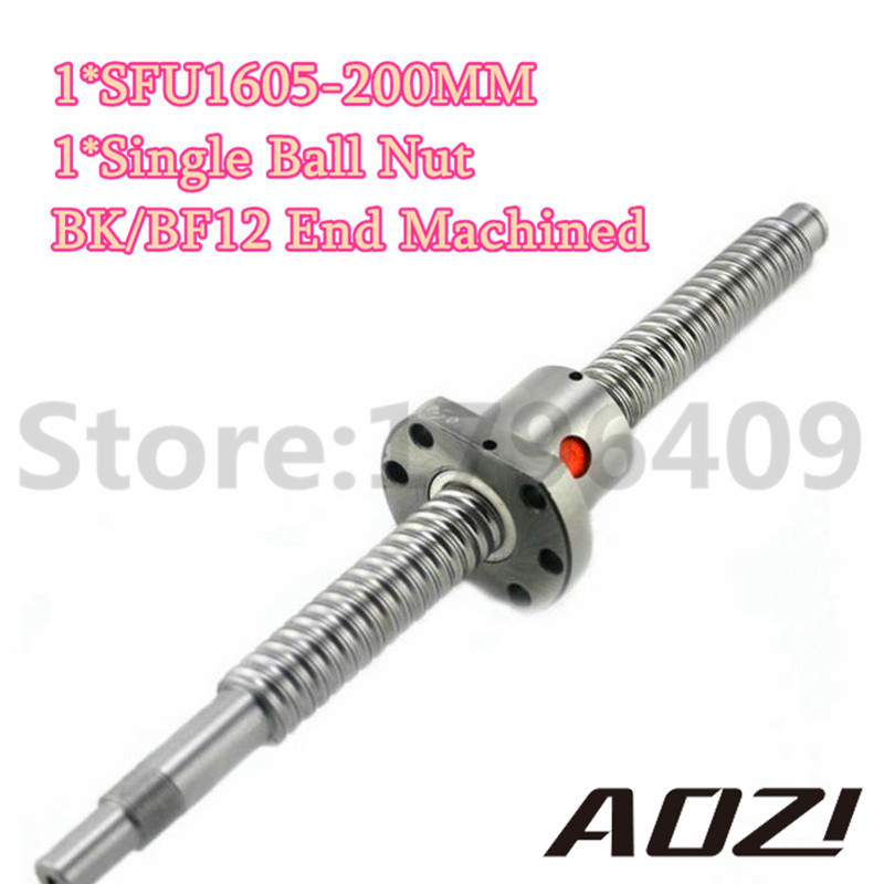 SFU1605 Ball Screw Rolled Ballscrew 1pc SFU1605 L-200mm And BK/BF12 End Machined With 1pc 1605 Flange Single Ballnut For CNC sfu1605 ball screw l650mm ballscrew with sfu1605 single ballnut for cnc