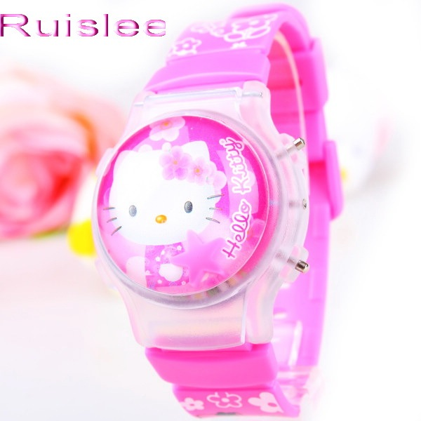 Fashion With light Hello Kitty Cartoon child watch flip silica gel children student watches electronic Girl Gift watch 163698