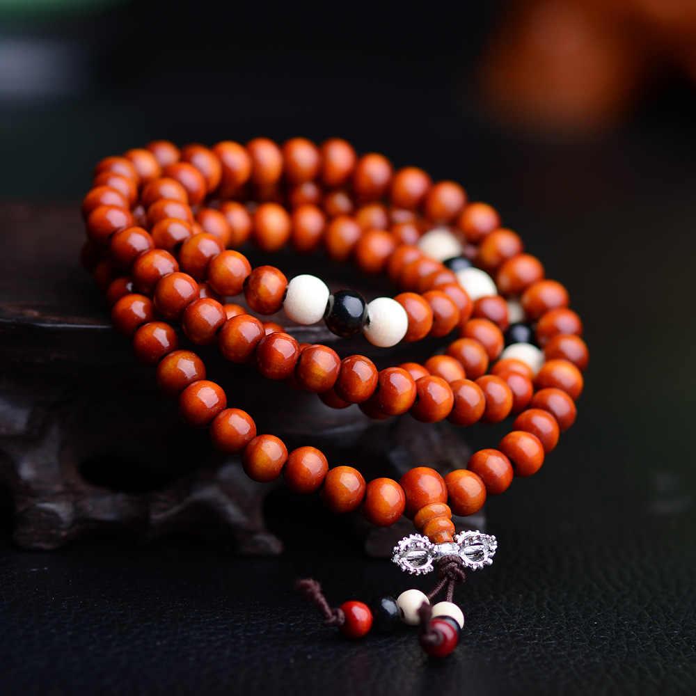 "Pulseras 108 חרוזים 8 מ""מ ו 6 מ""מ טבעי אלמוג בודהיסטי בודהה עץ ביד Mala יוניסקס גברים צמידים & תכשיטי צמידים"