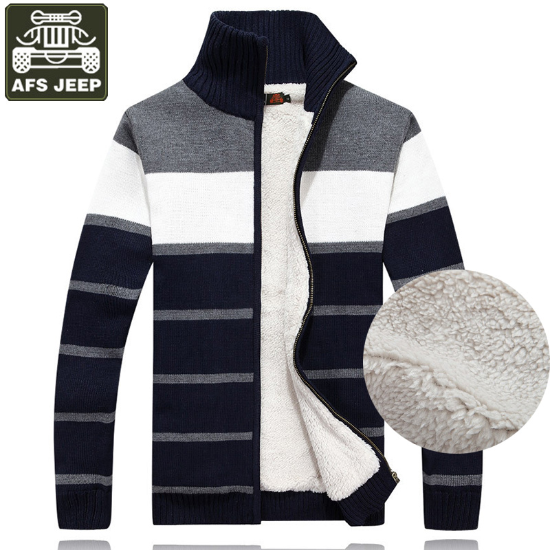 Sweaters Cardigans New Arrival Factory Wholesale Price Afs Jeep Plus Velvet High Qualtiy Sweaters Warm Fashion Men Winter Thick Jacket Size M-3xl
