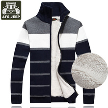 AFS JEEP Brand Cardigan Male Men's Sweater Winter Warm Fleece Sweater Striped Standard Wool Sweaters Men's Turtleneck Pull Homme