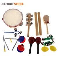 16 Sztuk Zestaw 10 Rodzajów Przedszkole Drum Perkusyjny Tamburyn Instrument Muzyczny Zabawki dla Dzieci Dzieci Dziecko Wczesna Edukacja