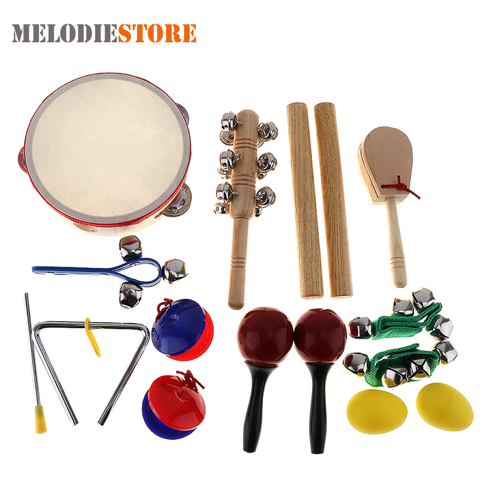 купить 16Pcs Musical Instrument Set 10 Kinds Kindergarten Tambourine Drum Percussion Toys for Kids Children Baby Early Education недорого