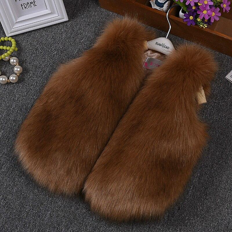 High Quality Girls Vest Winter Kids Faux Fur Vest Girls Gorgeous Warm Gilets Children Outerwear Thicken