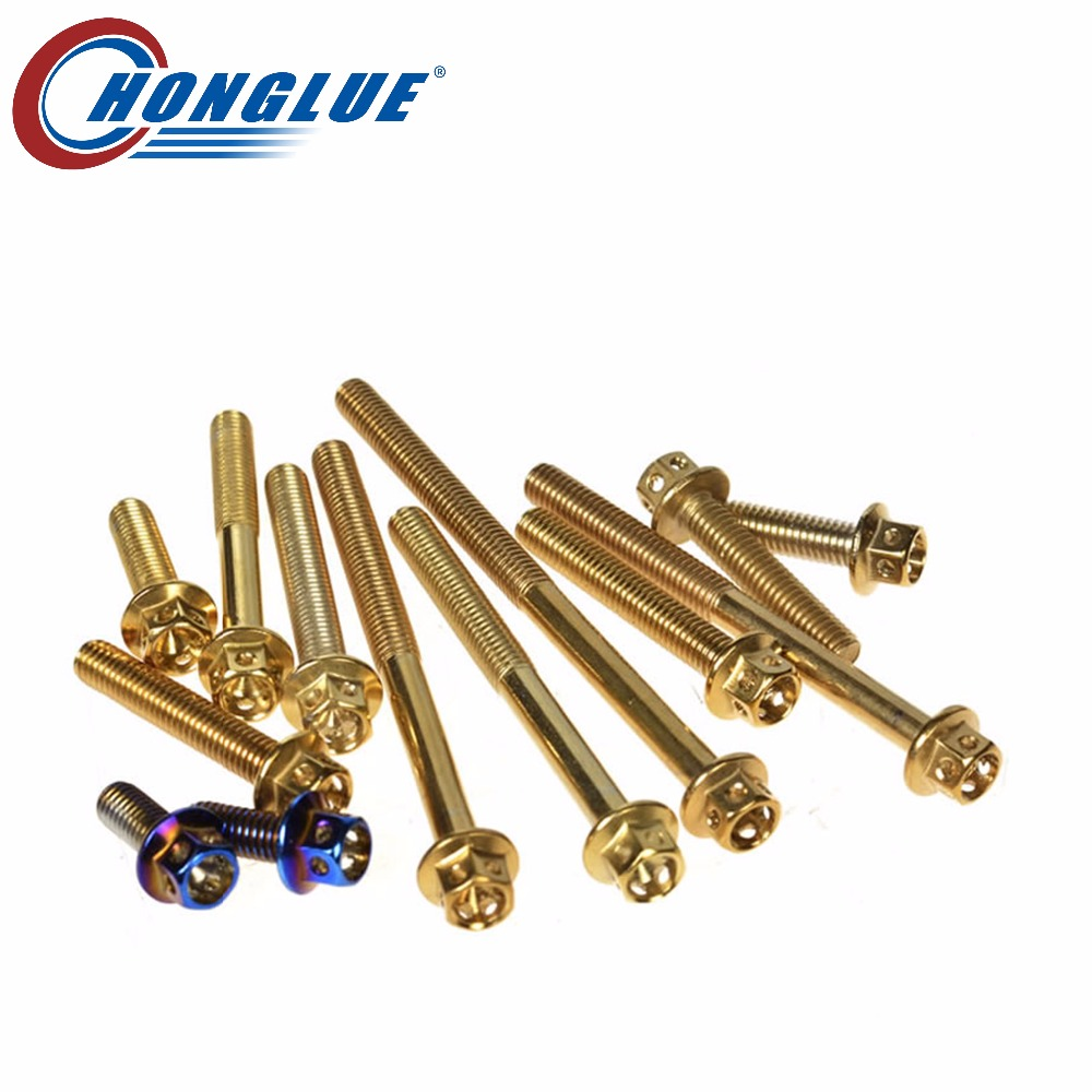 m6 Motorcycle Screw Plating Symphony Blue / Plating Gold Modified Outer Hexagonal Shape Stainless Steel Alloy screw Fixing bolts