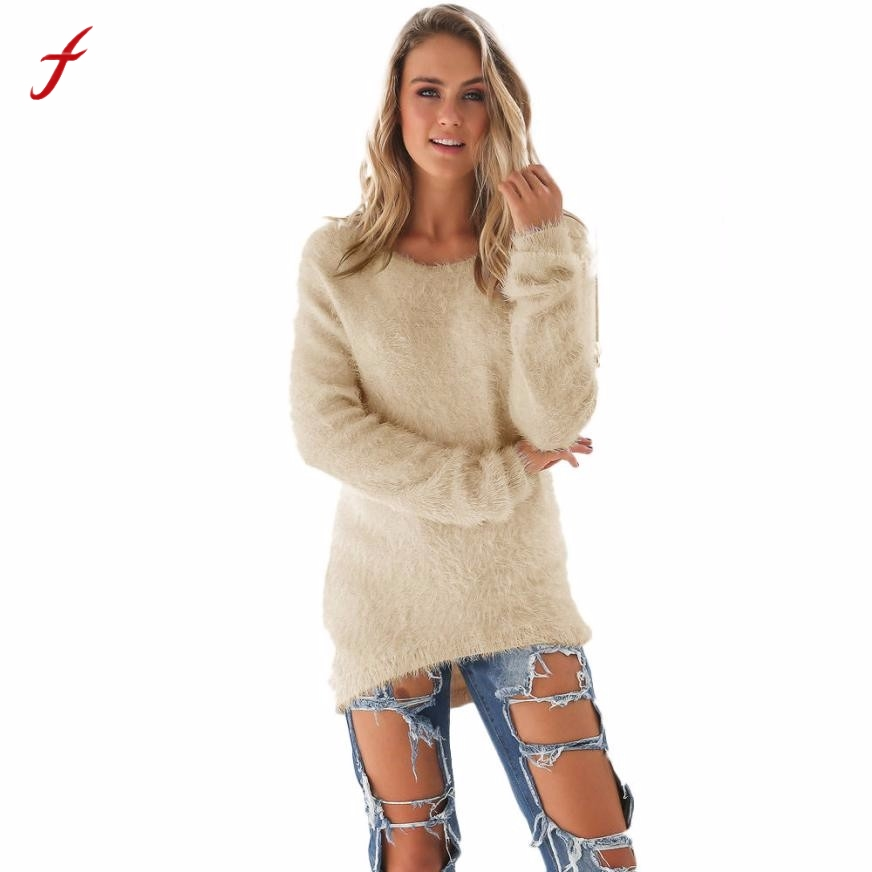 Winter Sweater Women Casual Solid Long Sleeve Jumper Sweaters Busos Para Mujer 2017