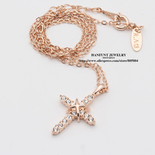 N451 N452 Cross Jesus Christ Necklaces Rose Gold Color Fashion Pendant Jewelry Cubic Zirconia Crystal Wholesale