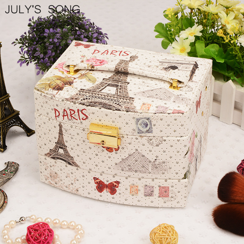 Image 3 - JULYS SONG Jewelry Organizer Box Leather Earring Storage Box 