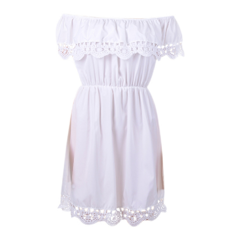 2018 Womens Summer Dress Feminina Fashion Sexy Style Sleeveless Lace Mini Dress Slash neck Dreess Vestidos