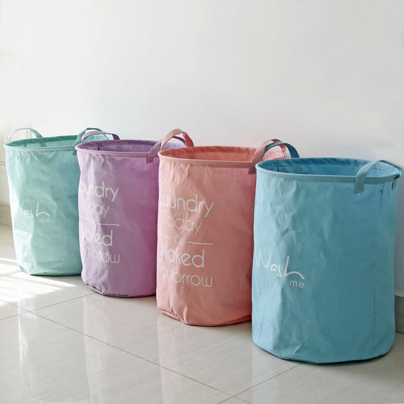 Katoenen linnen Zakka Vintage stevige opslag wasmand Grote capaciteit Snoepkleur Paars Mintroze Handvat Vouwbak 40x50cm
