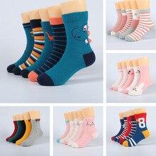 5 пар носков для маленьких девочек весенне-летние хлопковые носки для новорожденных Meias Para Bebe/детские носки для мальчиков От 1 до 12 лет