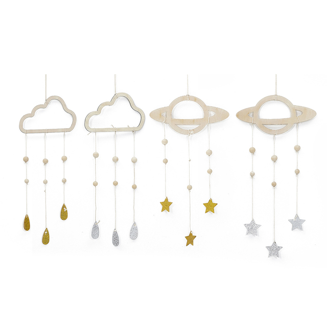 Retro Wooden Planets and Stars Kids Room Decoration