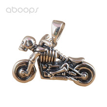 Gothic Cool 925 Sterling Silver Skeleton Motorcycle Necklace Pendant for Men Women Free Shipping