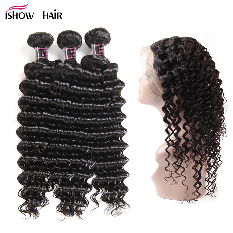 Ishow Indian Deep Wave With 360 Lace Frontal Non Remy Hair 130 Density Swiss Lace With