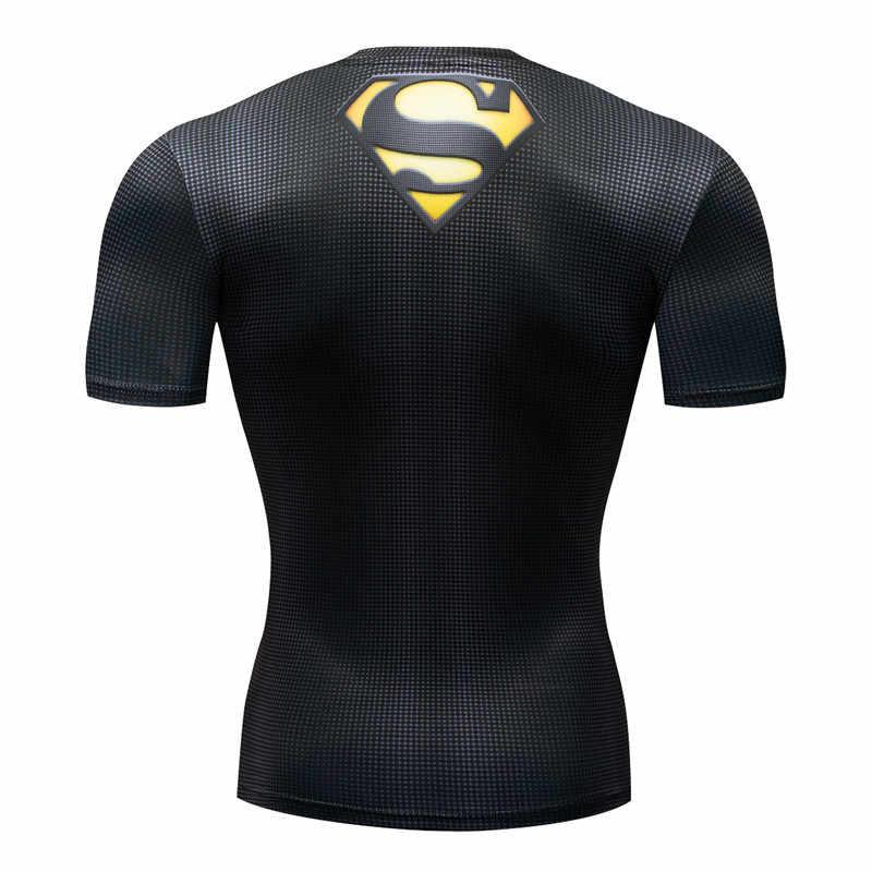 סופרמן 3D t חולצה גברים דחיסה קצר שרוול חולצה למעלה פיתוח גוף כושר זכר חולצת טי Homme אנימה גיבור טי